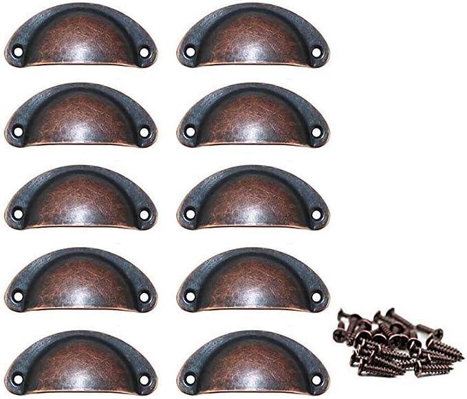herrajes para Muebles Antiguos Longitud: 81 mm, Ancho: 32 mm WZKJ 12 Asas de Tiradores para cajones Vintage Concha Tiradores para cajones con Tornillos Tiradores de Media Luna para cajones