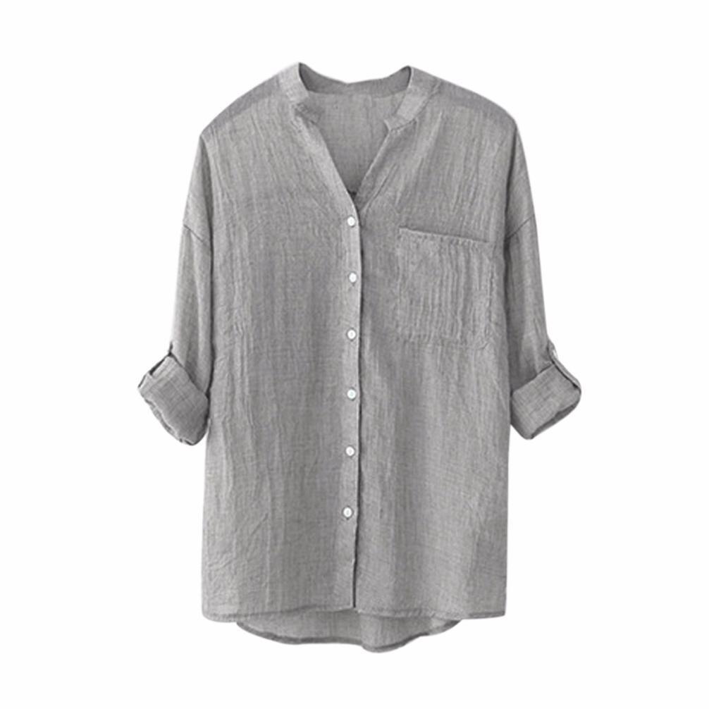 HARRYSTORE Women Cotton Linen Solid Long Sleeve Shirt Casual Loose Blouse Button Down Tops