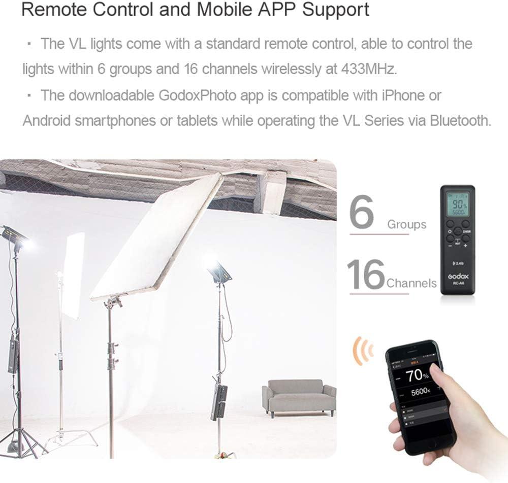 Remote Controller 150WS White 5600K Phone APP Adjustment Reflector Compatible Bowens Mount Godox VL150LED Video Light Can V-Port Lithium Battery