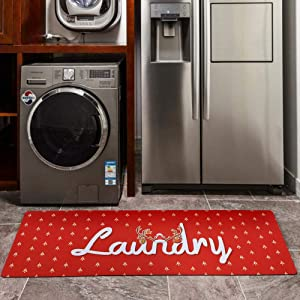 USTIDE Christmas Laundry Room Rug Red Carpet Non Skid Farmhouse Kitchen Rug Mudroom Decor Christmas 20X48inch- Red