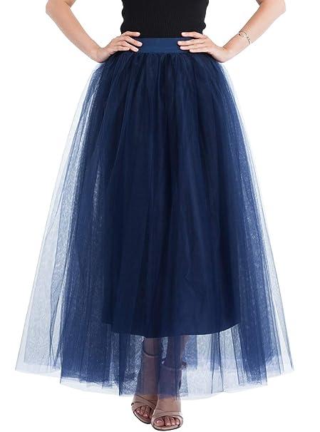Happy Cherry - Vestido de Gasa para Mujer Falda Larga Azul ...