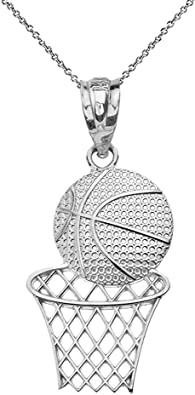 Sterling Silver Basketball Hoop Charm Pendant Necklace Diamond Cut Finish