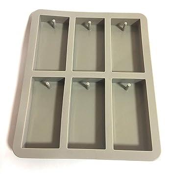 Bargain House molde rectangular Bar Candy molde de silicona con agujero para Chocolate, jabón para