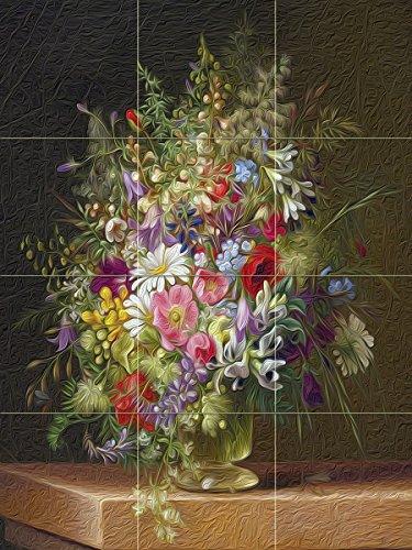 WILD FLOWERS IN A GLASS VASE by Adelheid Dietrich colorful Tile Mural Kitchen Bathroom Wall Backsplash Behind Stove Range Sink Splashback 3x4 4'' Marble, Matte by FlekmanArt
