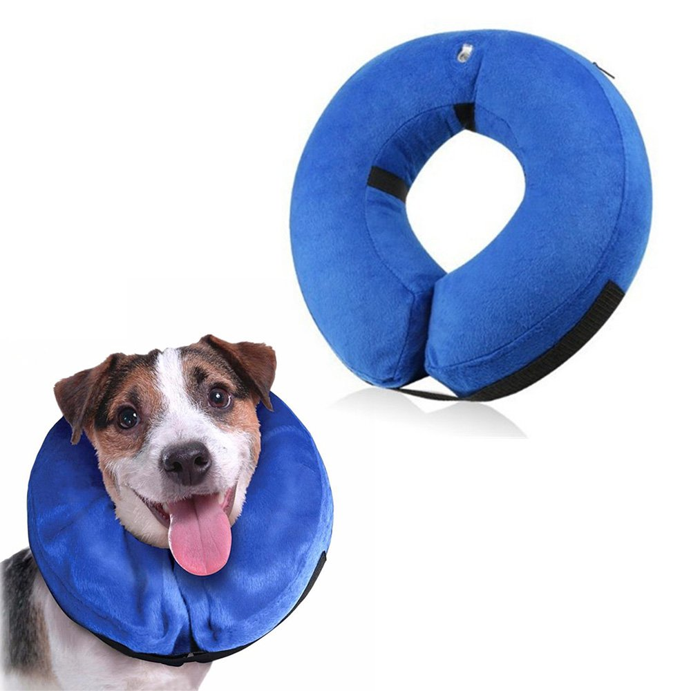 Inflatable Cone Collar for Dogs and Cats, Adjustable Soft Comfortable Pet Recovery Collar After Surgery, Protective Pets E-Collar to Prevent Dog from Biting,Scratching,Stitches, Rashes,Wounds (Medium) by Langxian