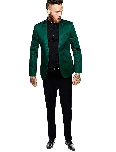 YZHEN Hombre Un botón 2 Piezas Trajes de Boda Verdes Chal ...