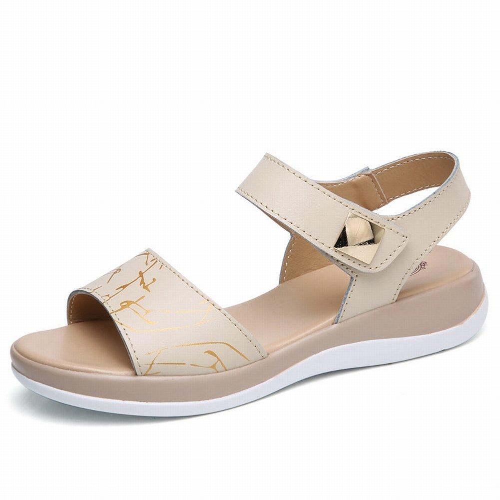 YTTY Mode Gedruckt Sandalen Komfort All-Match-Schuhe Leder Hohe Frauen Sandalen  37|Aprikose