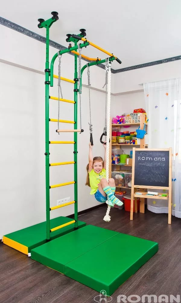 Comet 5 Childrens Indoor Home Gym (Swedish Wall) - Playground Set for Kids with Gymnastic Rings, Rope, and Trapeze Bar. Suit for Gyms, Schools and Kids Room