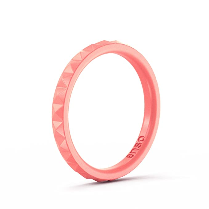 Enso Womens Stackable Silicone Rings Coral. Size: 4 best minimalist jewelry