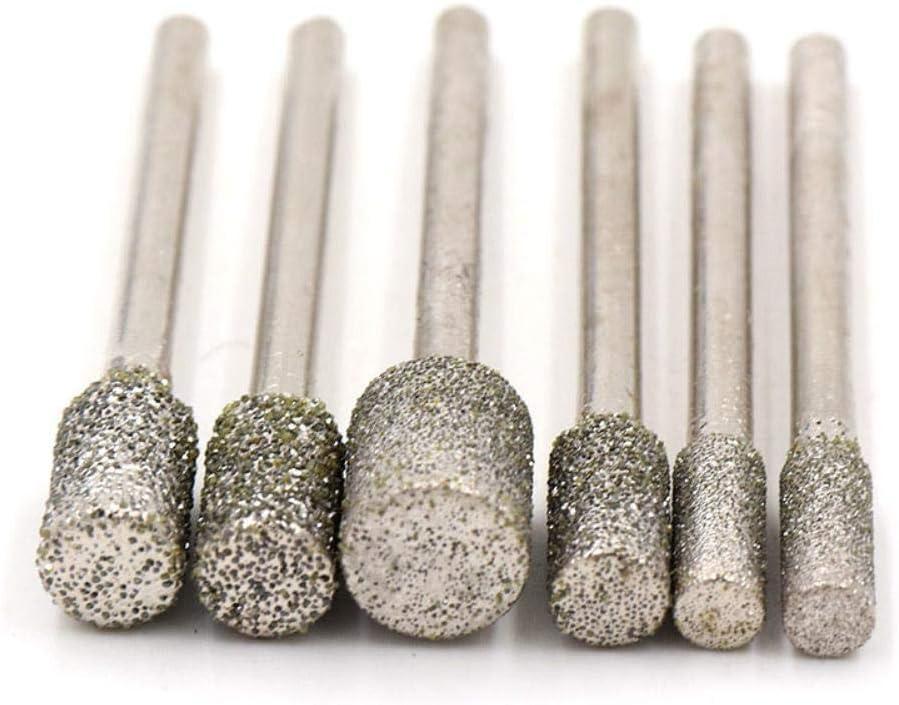 1pcs Diamond Cutting Grinding Head Mounted Points Bit 3.0mm Shank Jade Stone Carving Polishing for Dremel Rotary Tool,Silver,3x3mm