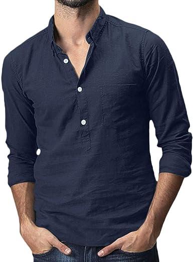 Berimaterry Camisa Hombre Cuello Mao Lino Blusa Manga Larga Camisas Top Collar De Color Sólido Blusas Suelta Camisas De Trabajo Suave Cómodo Transpirable Camisa Algodón y Lino Cuello Mao Lino: Amazon.es: Ropa