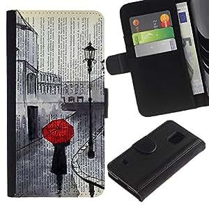 Billetera de Cuero Caso Titular de la tarjeta Carcasa Funda para Samsung Galaxy S5 V SM-G900 / Romantic Sad Painting Red Umbrella / STRONG