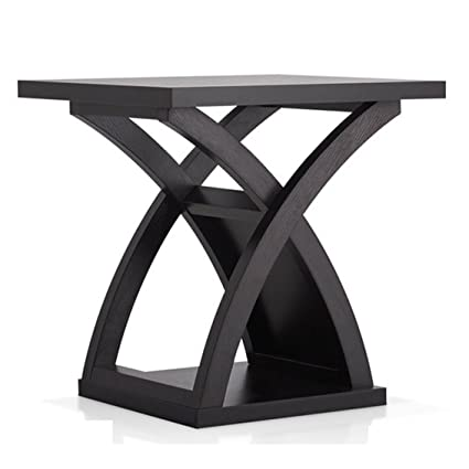 ed86f73b490a1 Amazon.com  Contemporary Barkley Rectangle X- base End Table - Wood  Espresso Finish - Brown  Kitchen   Dining