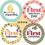 24 PACK Baby Milestone Stickers; includes 12 Monthly Stickers and 12 First Holidays Stickers