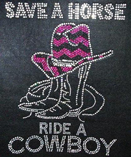 Cowboy Rhinestone Transfer Iron On Hot Fix Motif Bling Applique - DIY ()