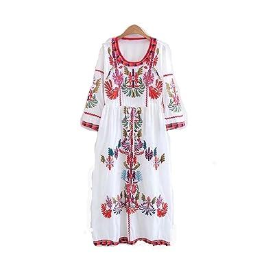 24a44ed9006c2 Manches Floral Brodé Mexicain Paysan Habillées Tops Blouses Chemise Robe  Tunique ( Color   Blanc