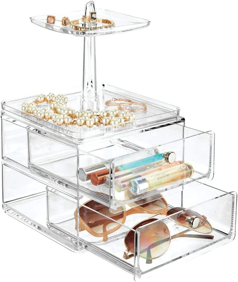 mDesign Jewellery Box /— Stylish Jewellery Storage Drawers for Bedrooms and Bathrooms /— Accessories Storage Unit with Ring Tray /— Clear