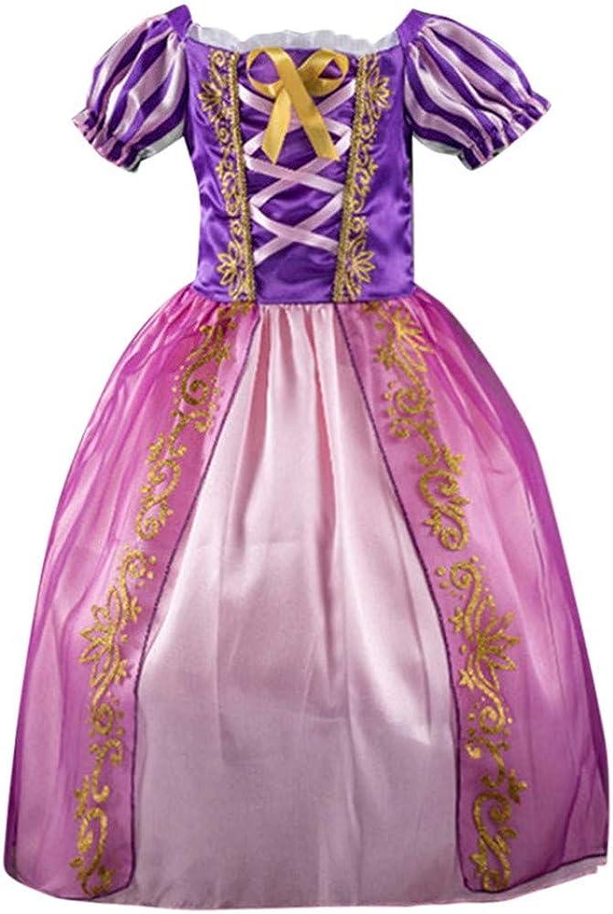 HAOHEYOU Disfraces de Princesa Rapunzel para niñas Vestidos de ...