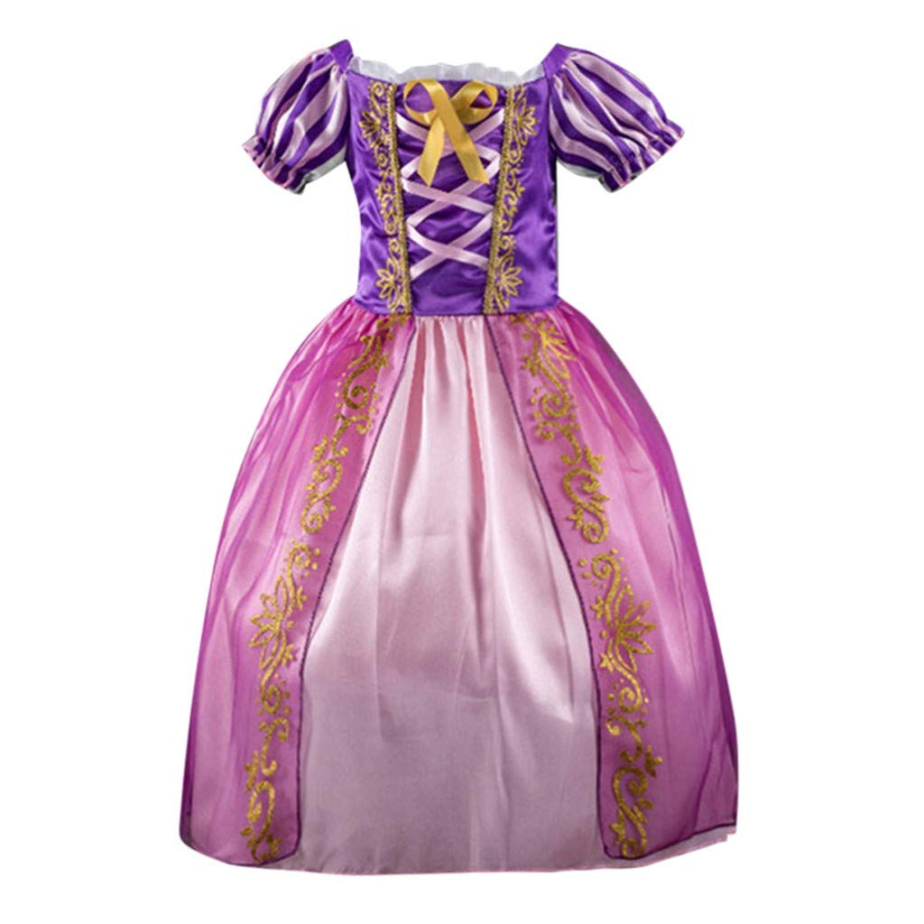 Clothes For Children Kid Girls Baby Striped Print Princess Bling Costumes Party Tutu Dresses Clothes Short Sleeve Party Formal Dress For Children Toddler Baby Girl Kid Outfits (Purple, 2-3T)