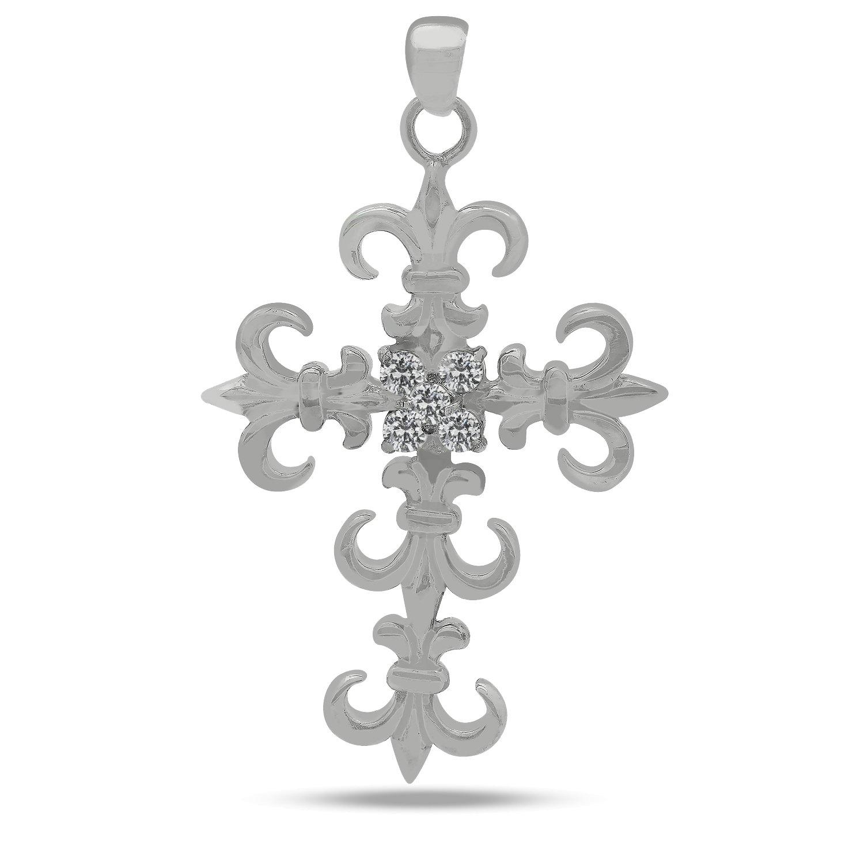 JewelryVolt 925 Sterling Silver CZ Pendant Dangling Fleur De Lis Cross