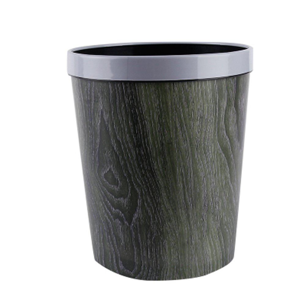 Battletter Hotel Office Plastic Trash Can with Wooden Grain (2)