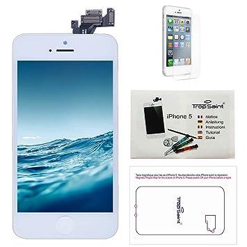00ce2568d19 Trop Saint Pantalla Completa Compatible con iPhone 5 Blanco Premium Kit de  reparación LCD Fim Protector: Amazon.es: Electrónica