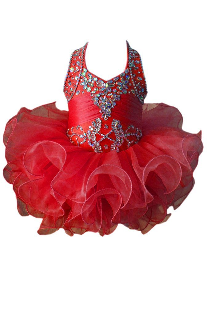 G.CHEN ChengCheng Baby Girls Halter Cupcake National Infant Pageant Dresses 6M Red by G.CHEN