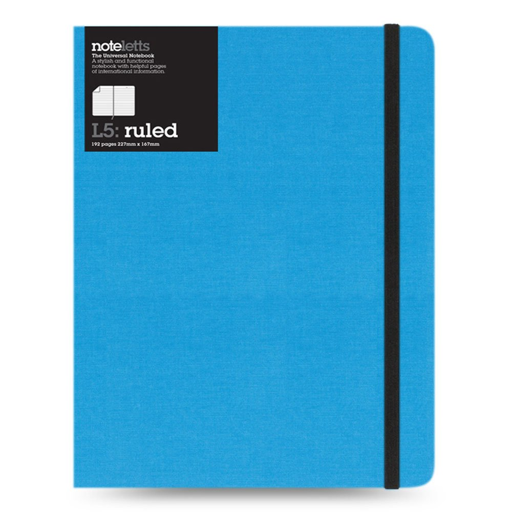 Letts Noteletts Universal Notebook, Small, 192 Ruled Pages, Black Blueline LEN7RBK