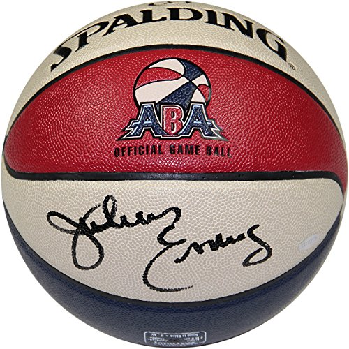 NBA Philadelphia 76ers Julius Erving Signed ABA Basketball by Steiner Sports