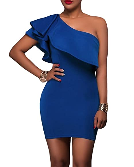 best service 46729 34044 Landove Vestiti Donna Monospalla Eleganti Abito con Volant ...