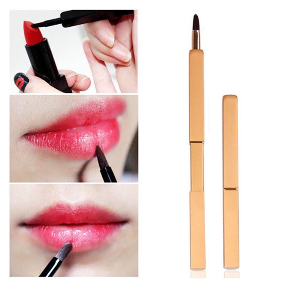 Pinkiou Eyeliner lápiz con sello impermeable doble cara larga duradera sello maquillaje Eyeliner herramienta (oro) Pincel de labios