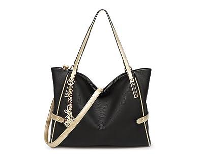 Amazon.com  DALFR Tote Bag Women Vegan Leather Handbags OL Shoulder Bag ( Black)  Shoes 9d8b80c3f78d3