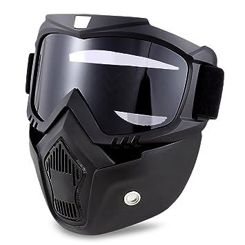 Gafas de moto con máscara desmontable y filtro de boca para proteger el casco, gafas