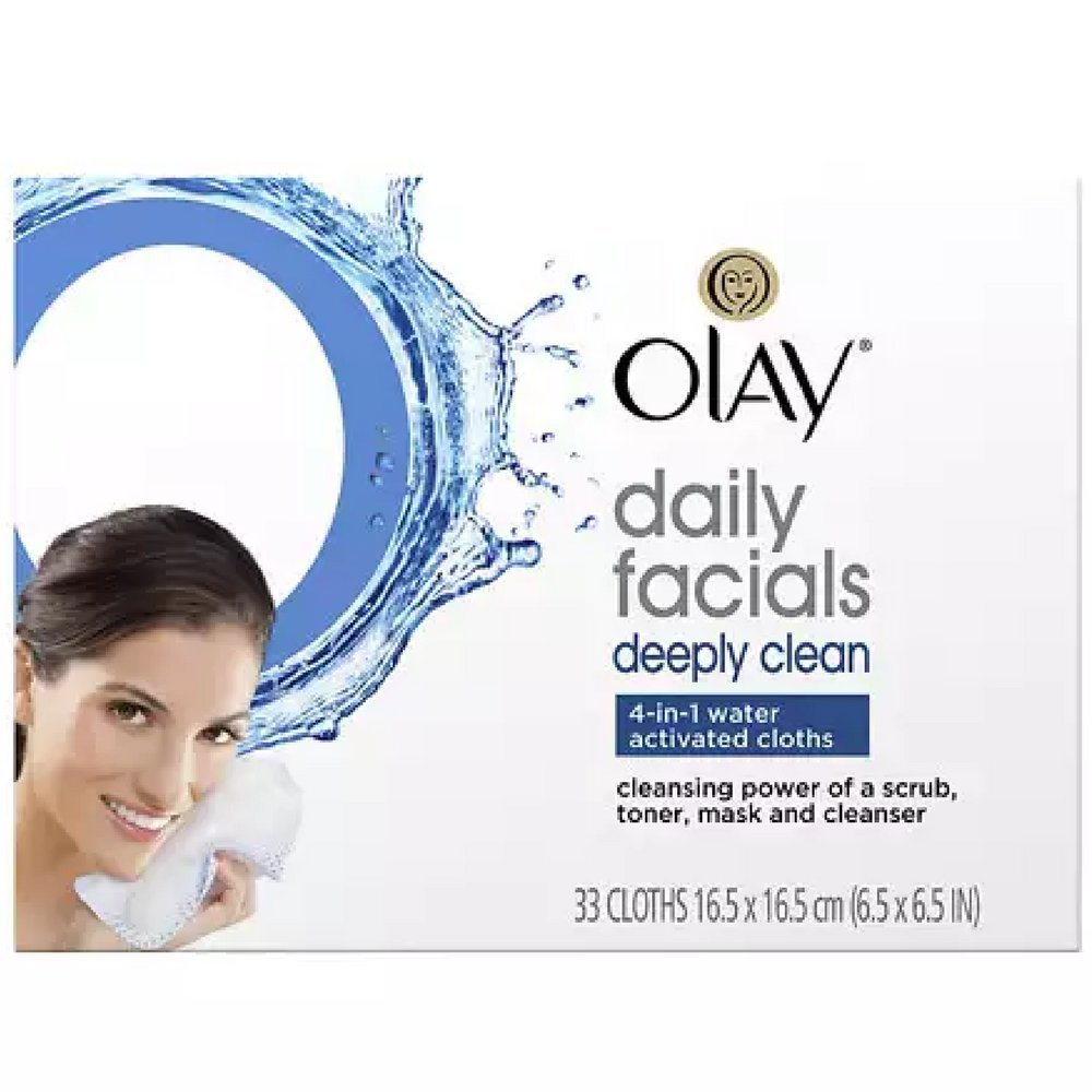 Olay Daily Deeply Clean 4-in-1 Water Activated Cleansing Face Cloths 33ct (Pack of 5)