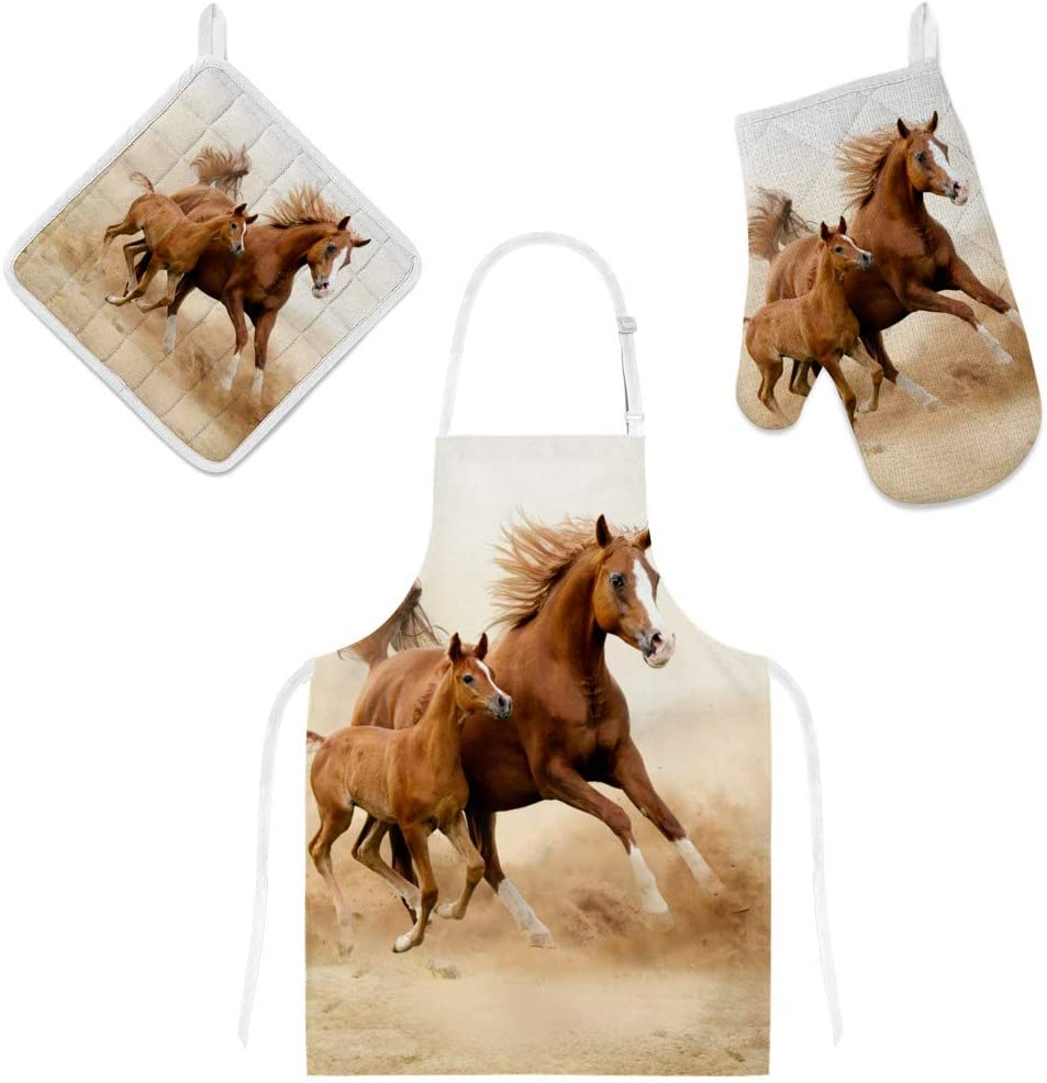 Top Carpenter Polyester Kitchen Oven Mitts Glove Potholder Apron 3Pcs Set Horse Running with Child Non Slip Heat Resistant Mitts for Baking Cooking BBQ