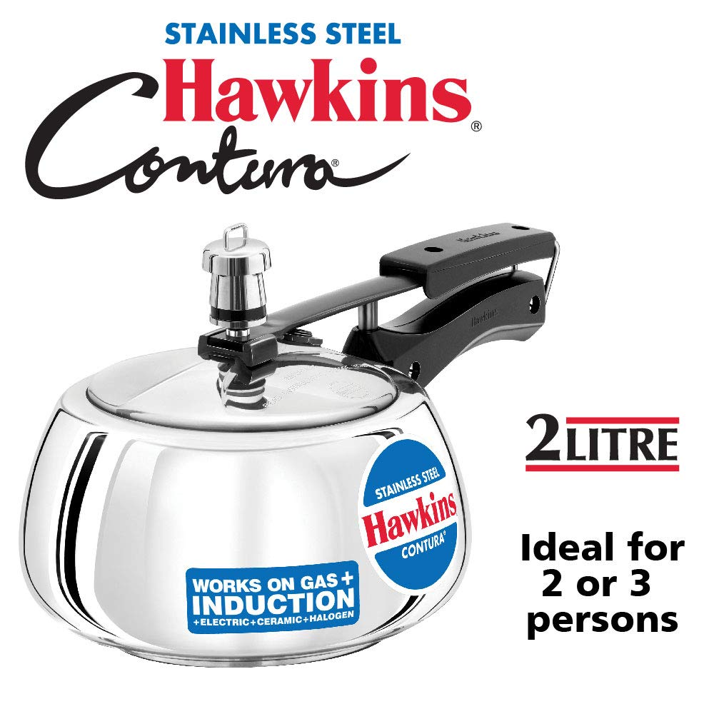 Hawkins Contura Stainless Steel 2 Liter Pressure Cooker for Induction, Electric and Gas Stove (2 Liter)