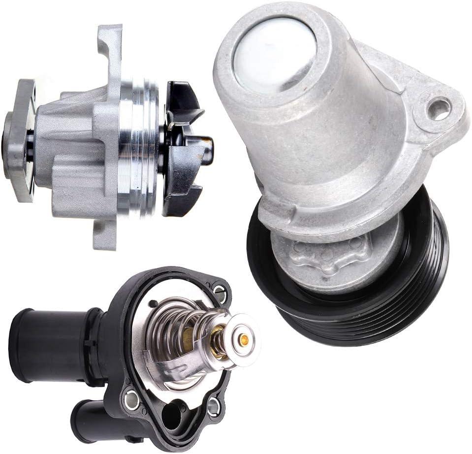 TUPARTS Engine Tensioner Thermostat Water pump Replacement for 2010-2013 Mazda 3 2012-2014 Mazda 5 2007-2012 Mazda CX-7 LFG115980B PWP9216
