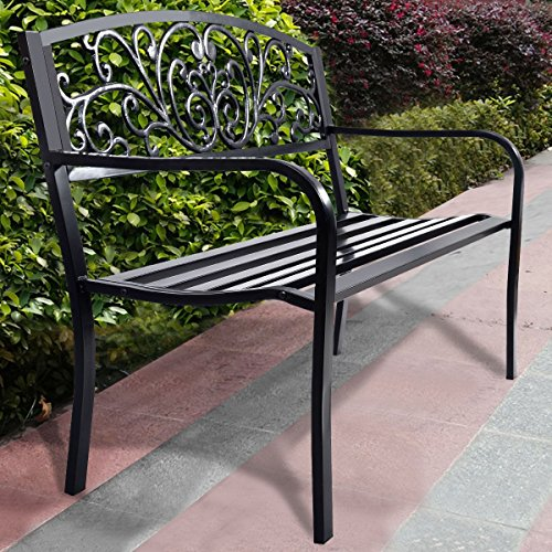 BESTChoiceForYou Garden Steel Patio Park Frame Bench Outdoor Porch Chair Furniture Yard New 50 Deck Path Seat Cast Iron Black Backrest Path Wood Black Lawn Garden Bench Porch