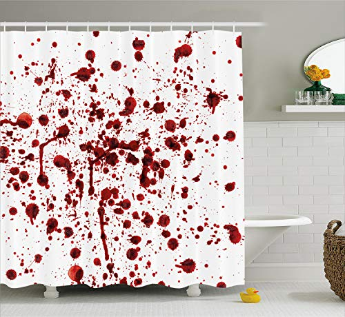 Ambesonne Horror Shower Curtain, Splashes of Blood Grunge