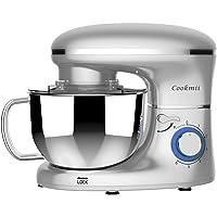 Cookmii Geräuschlos1500W Küchenmaschine Rührmaschine Knetmaschine 6 Geschwindigkeit 5,5 L mit Edelstahlschüssel Teigmaschine (Silber) Mehrweg