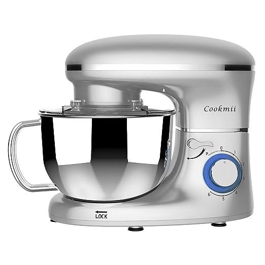 Cookmii Batidora Amasadora, Amasadora de Bajo Ruido, Robot de Cocina Multifuncional, Amasadoras de Pan, Batidora Eléctrica de 6 Velocidades con Recipiente ...
