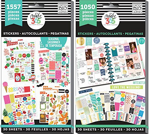 Organizer Value Pack (Create 365 Happy Planner Sticker Value Pack Bundle with Brilliant Year and This Colorful Life (Set of 2 Items))