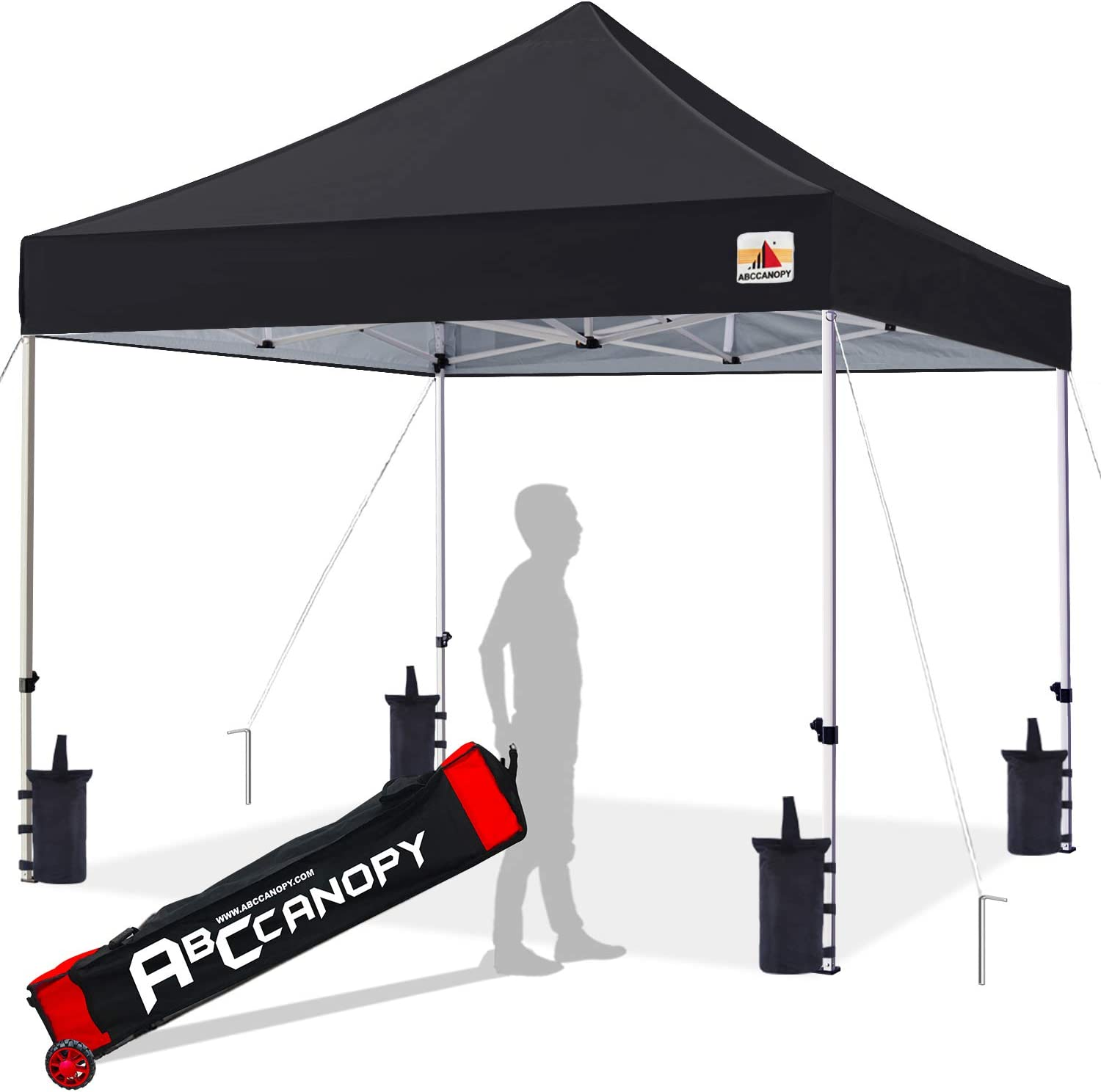 ABCCANOPY 10×10 Canopy Tent Pop up Canopy Outdoor Canopy Commercial Instant Shelter with Wheeled Carry Bag, Bonus 4 Canopy Sand Bags, Black