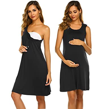 550be8dfc01 Ekouaer Women's Maternity Dress Sleeveless Nursing Nightgown for Breastfeeding  Sleepwear Black