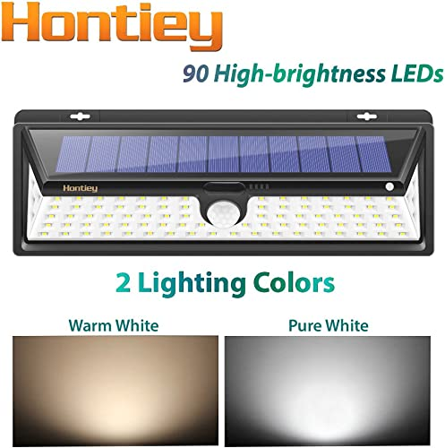Hontiey 90 LED Solar Sensor Lights, Waterproof, Three Body Infrared Induction Super Bright Solar Wall lamp.Outdoor Lighting Such as Road Lighting, Tent, Garden, Courtyard, Park,etc. Black – 1 Pack