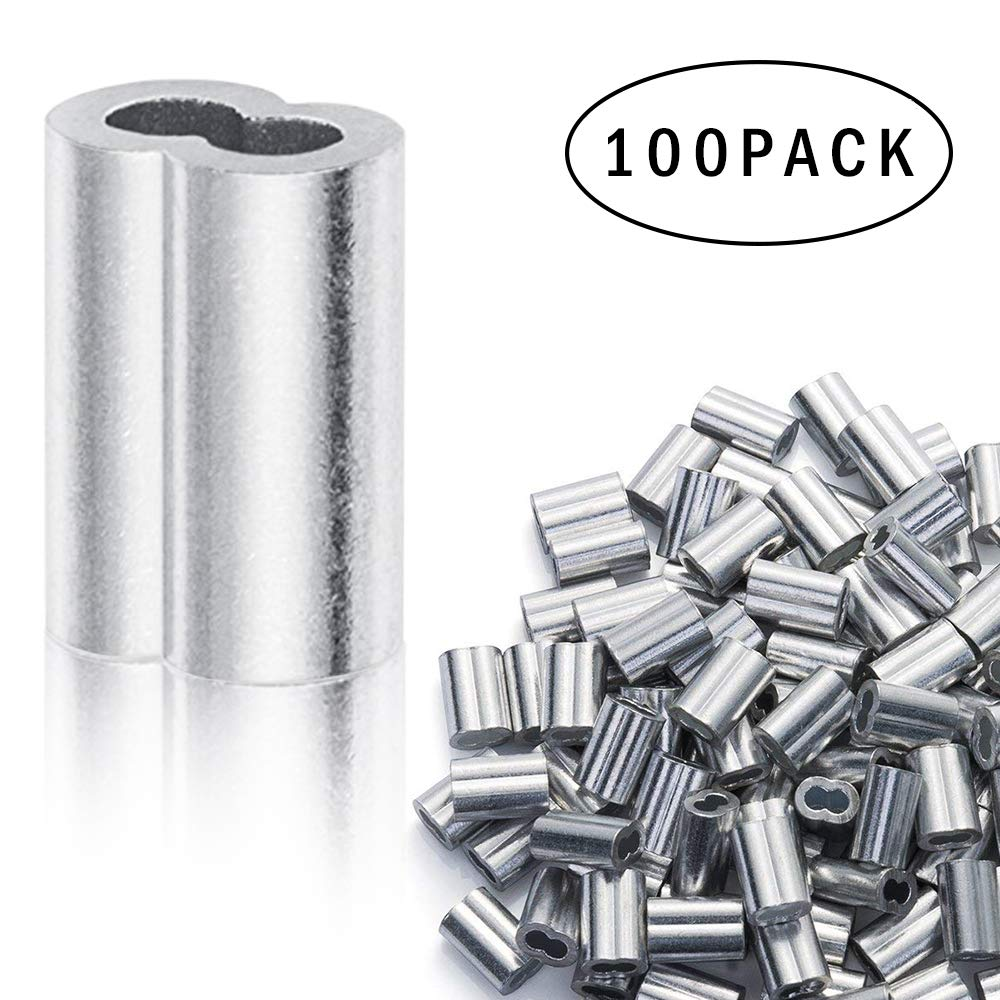 QMOEH 1/8' Crimping Loop, Aluminum Crimping Loop Sleeve for 1/8' Diameter Wire Rope and Cable, 100PCS Aluminum Crimping Loop Sleeve for 1/8 Diameter Wire Rope and Cable