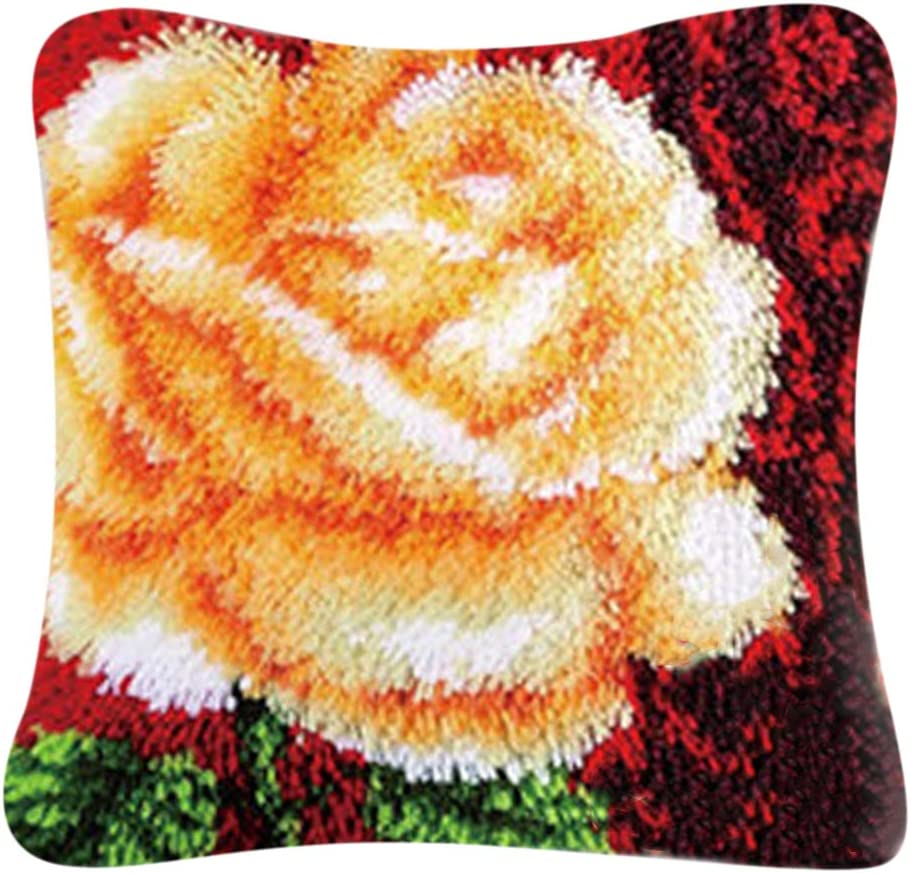 Butterfly Flower dailymall Flower Latch Hook Kits DIY Hand Craft Pillow Case Kit with Instruction 40x40cm