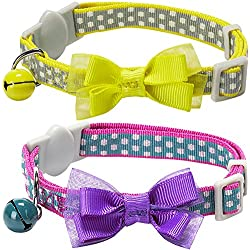 "Blueberry Pet Pack of 2 Cat Collars, Square Dots Adjustable Breakaway Cat Collar for Girl & Boy with Bow Tie & Bell , Neck 9""-13"""