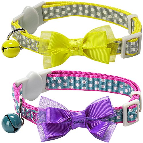 Blueberry Pet Pack of 2 Cat Collars, Square Dots Adjustable Breakaway Cat Collar for Girl & Boy with Bow Tie & Bell , Neck 9