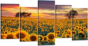 Kreative Arts Large 5 Piece Canvas Wall Art Field of Blooming Sunflowers Posters Prints Sunset Landscape Pictures Modern Home Decor Stretched and Framed Ready to Hang (Large Size 60x32inch)